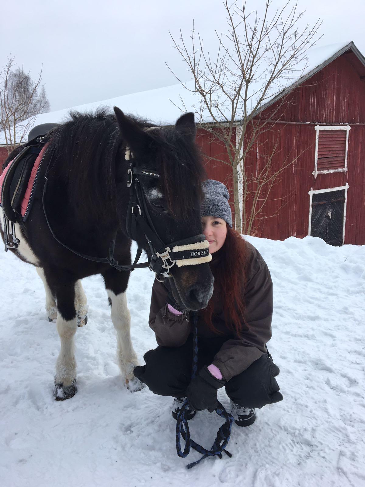 Viholan Ratsastuskoulu, tyttö ja poni poseeraa