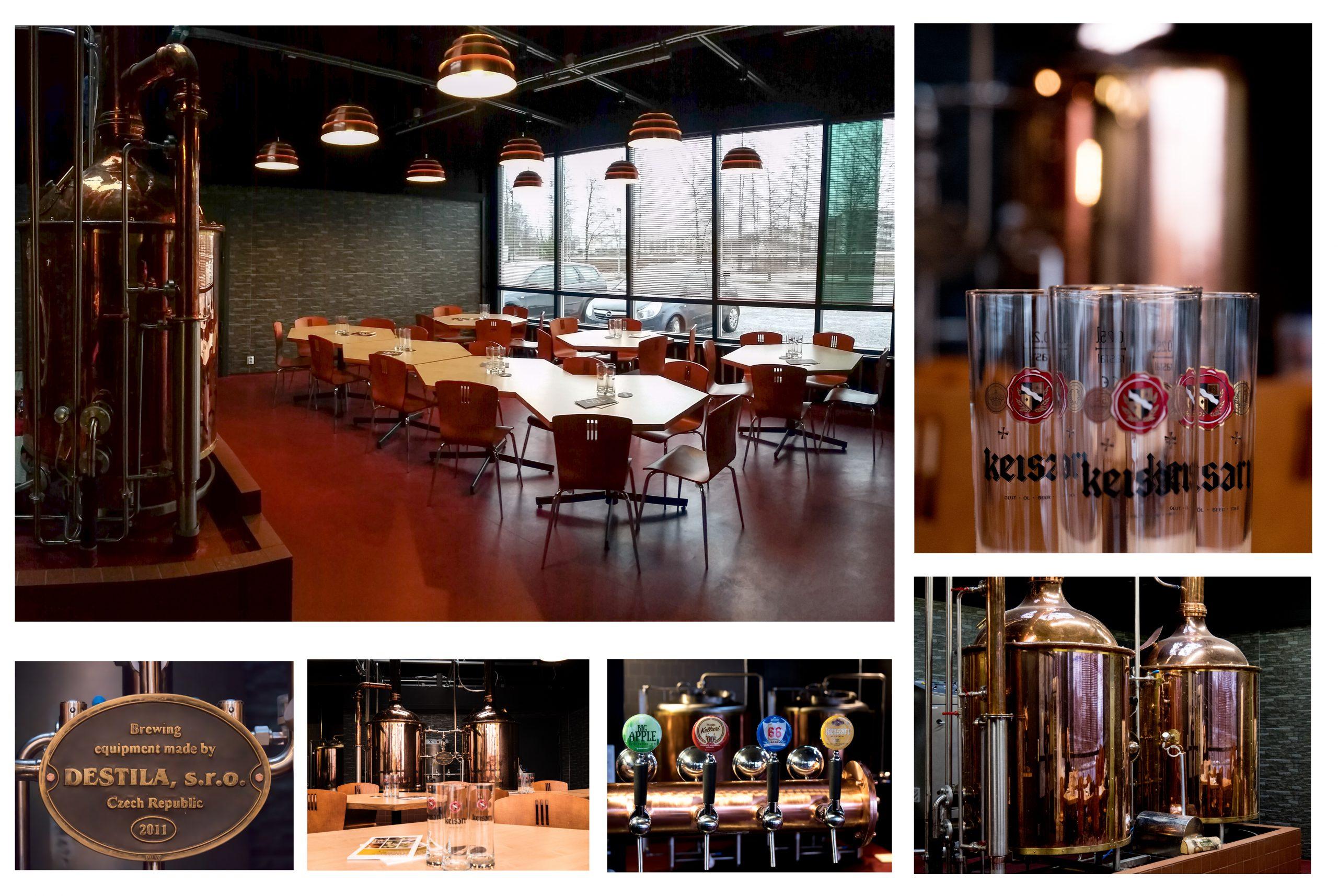 Kuvakollaasi Nokian Panimolta, jossa näkyy panimon toimitiloja, oluthanoja sekä Keisari-olutmerkin juomalaseja.