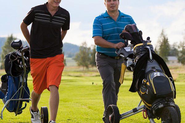 Kaksi miestä pelaamassa golfia