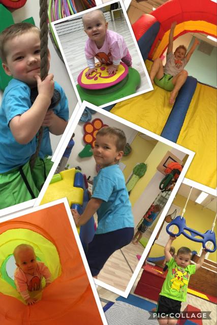 Kuvakollaasi taaper- ja leikki-ikäisistä lapsista liikkumassa liikunta- ja fysiterapiapalvelu Vauhtiketun tiloissa.