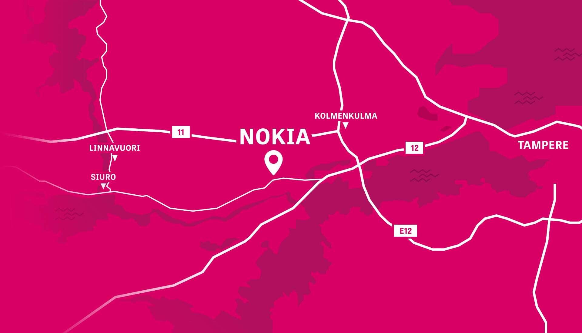 Visit Nokia kartta. Piirretty Nokian kartta, missä näkyy alueina Kolmenkulma, Linnavuori ja Siuro ja tiet 11, 12 ja E12. Ei etääisyysksiä eikä tarkempia teitä.
