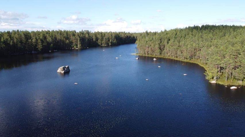 Kivikeskun järvi kuvattuna ilmasta aurinkoisena kesäpäivänä.