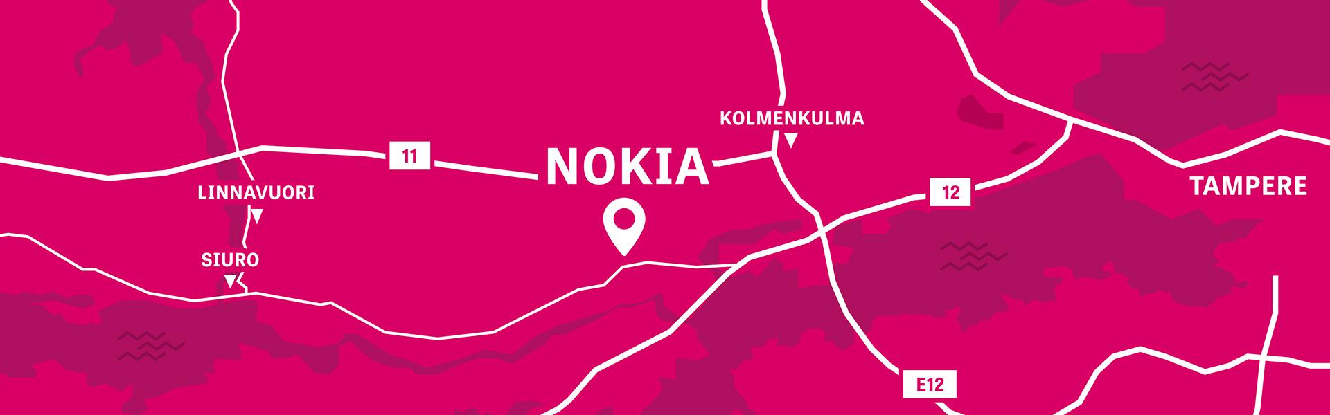 Visit Nokia kartta matala. Piirretty Nokian kartta, missä näkyy alueina Kolmenkulma, Linnavuori ja Siuro ja tiet 11, 12 ja E12. Ei etääisyysksiä eikä tarkempia teitä.