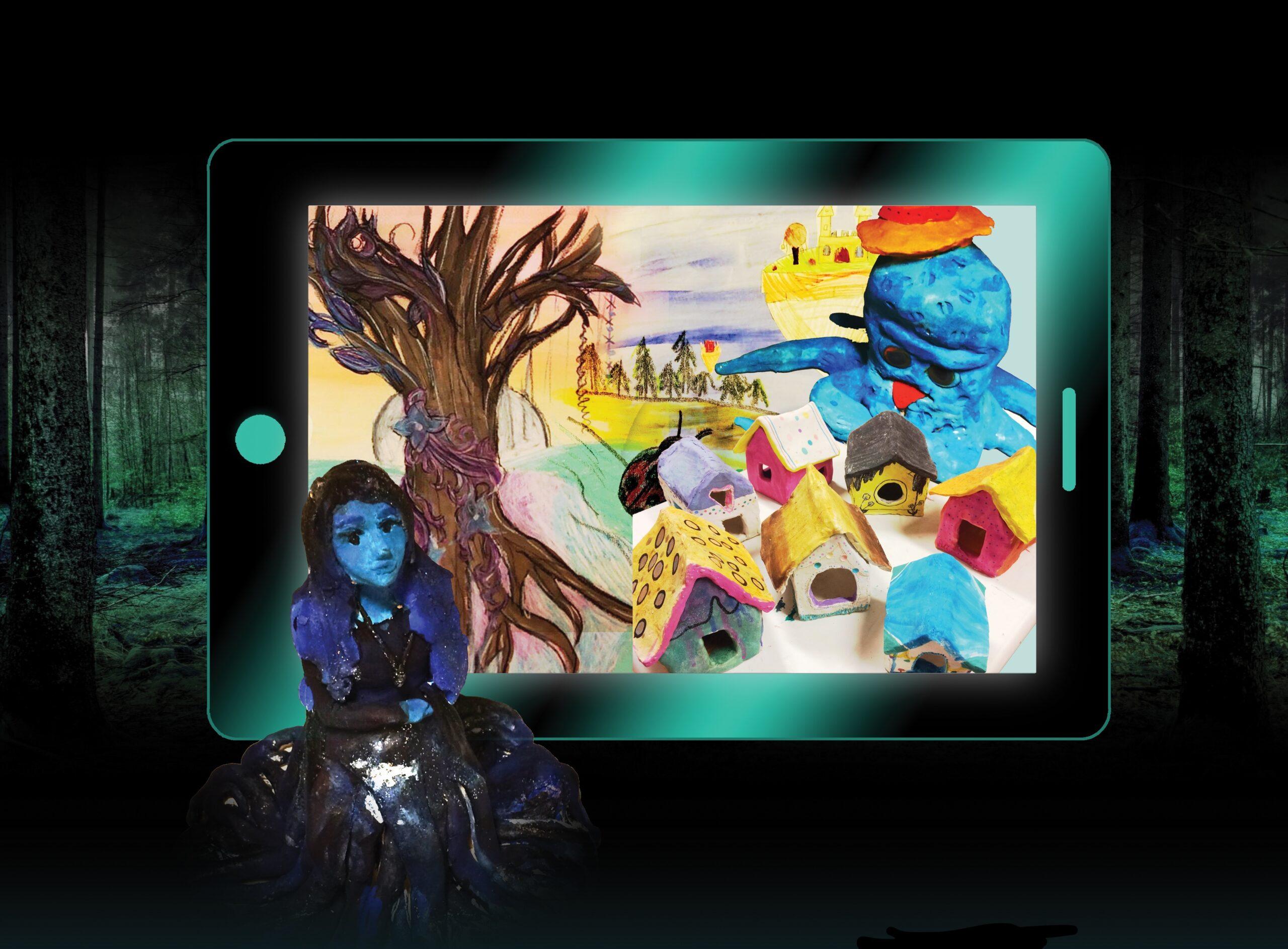 Pirkan opiston Lumottu saari -näyttelyssä oleva sinimustasävyinen tyttönukke, joka istuu tabletin ruudussa näkyvän puunrunko- sekä talotaideteosten edessä.